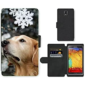 Hot Style Cell Phone Card Slot PU Leather Wallet Case // M99999822 Dog Puppy Pattern // Samsung Galaxy Note 3 III N9000 N9002 N9005