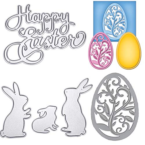 (TuoShei Eater Cutting Dies Happy Easter Letter and Bunny Rabbit Metal Stencil Template for DIY Scrapbook Album Paper Card Embossing, 5 Pieces Totally (Style 1))
