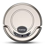 Robotic Vacuum Cleaner, Powerful Suction Robot Cleaner with Drop-Sensing System and HEPA Filter for Low-pile Carpet and Hard Floor, Gold