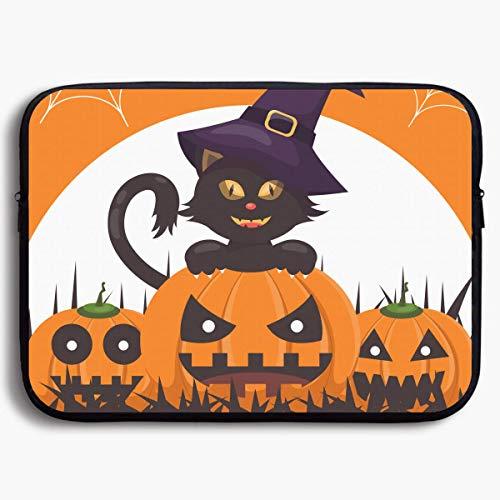 SINOVAL Halloween Black Cat Pumpkins Witch Hat Funky Laptop Sleeve Bag Water-Resistant Neoprene Notebook Computer Case Carrying Bag for Men Womens
