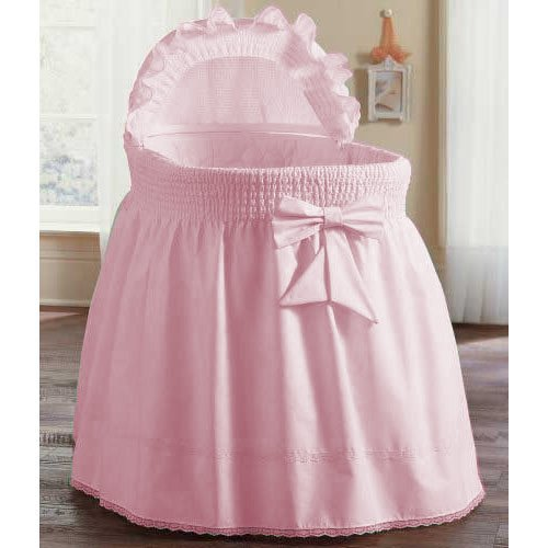 aBaby Smocked Bassinet Skirt, Pink, Small 009243440604