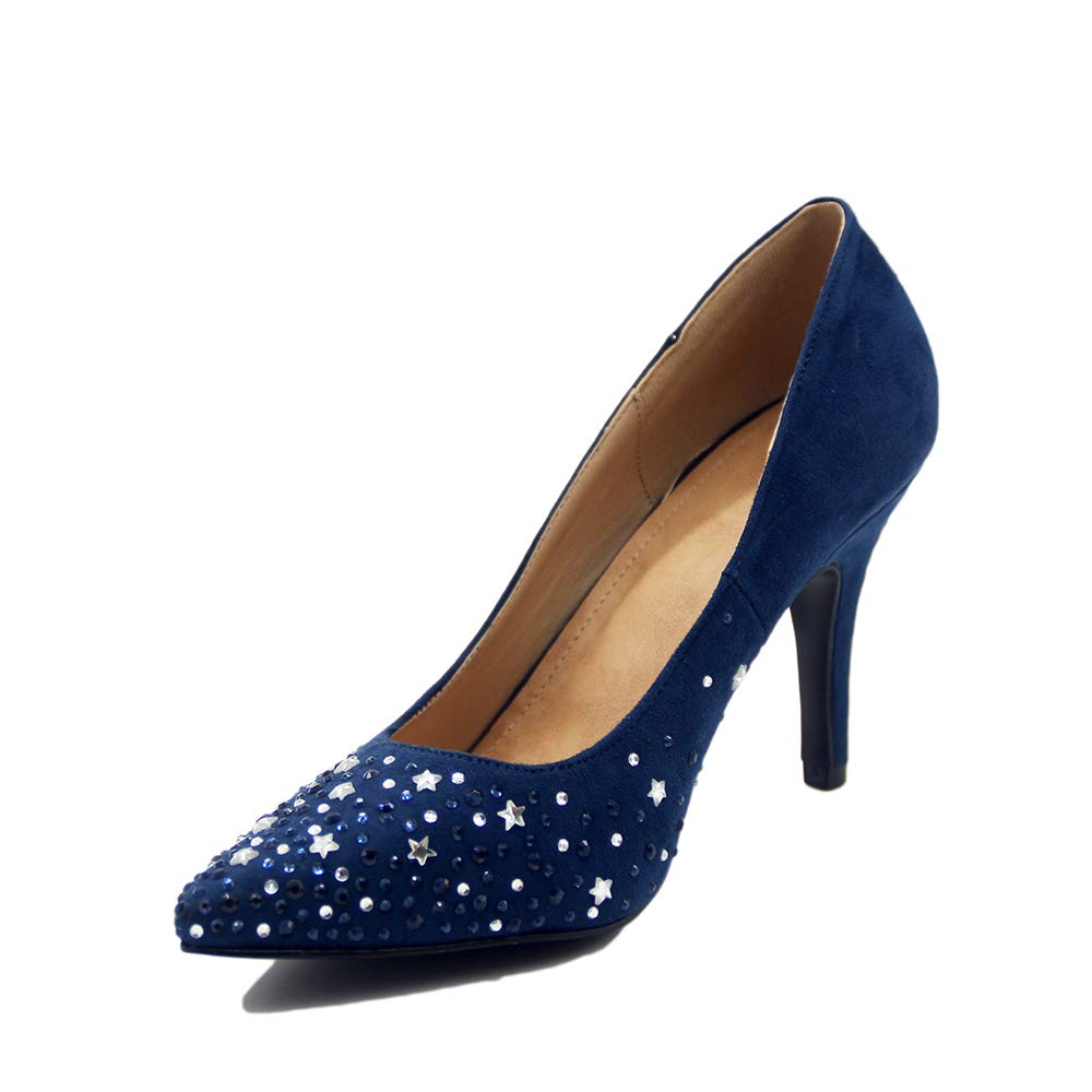 Lacitena Ladies Temperament Dress High Heels Star Shoes Crystal Diamond Shoes Star B07GPBFH47 US 8.5 d4bb93