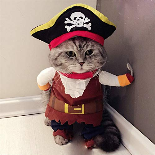 Vevins Dog Caribbean Pirate Style Costume Halloween Apperal Christmas Clothes for Small Dog Cat Size S