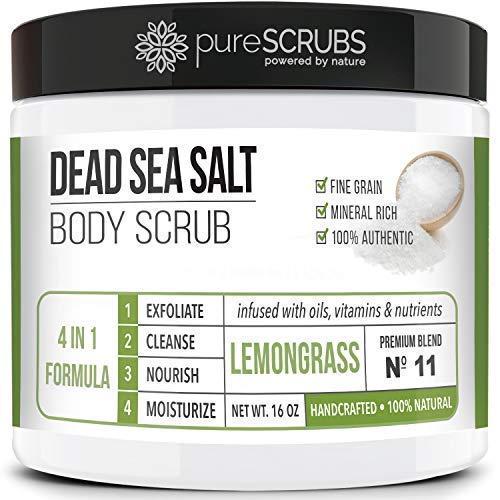 (Premium Organic Body Scrub Set - Large 16oz LEMONGRASS BODY SCRUB - Pure Dead Sea Salt Infused With Organic Essential Oils & Nutrients + FREE Wooden Spoon, Loofah & Mini)