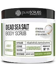 pureSCRUBS Premium Organic Body Scrub Set - Large 16oz LEMONGRASS BODY SCRUB - Dead Sea Salt Infused Organic Essential Oils & Nutrients + FREE Wooden Spoon, Loofah & Organic Exfoliating Bar Soap