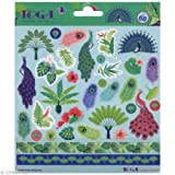 Toga Peacock 68 Stickers, Paper, Green-Blue-Purple, Board Size: 15 x 15 cm