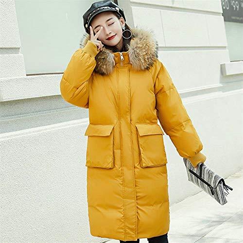 Giallo Alto Con Pelliccia Lungo Collo Ayguste Piumino Cappotto Da Donna In Sottile 0U07Pxwqf