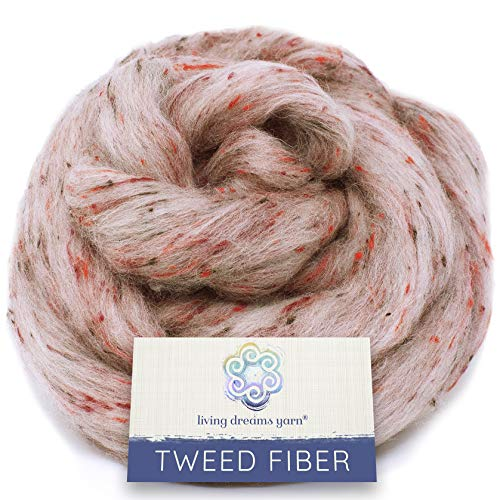 Tweed Effect Fiber for Spinning, Felting, Blending and Dyeing. Super Soft Wool & Viscose Blend. Combed Top Roving. Miss Marple