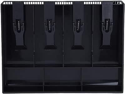 Negro Bandeja de caja Bandeja de inserci/ón Bandeja de inserci/ón Reemplazo de pl/ástico 4 Billetes 3 Compartimientos de monedas Caja de almacenamiento de dinero 12.6 x 9.6 x 1.4 pulgadas