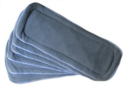 6 Pack carbón de bambú Insertos 5 capas de pañales de tela lavable Grande 14 X