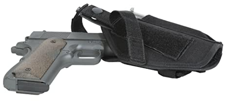 Ultimate Arms Gear Pro Stealth Black Universal Quick Draw Pistol Handgun  Holster Protector Pouch Carrier Gear with Fixed Attachable Belt Velcro Hook  &