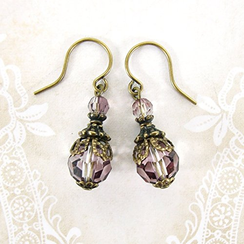 Dusty Pink Swarovski Crystal Victorian Style Earrings with Antique Brass Filigree