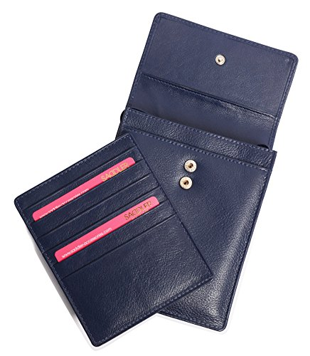 SADDLER Leather Cross Body Travel Passport Pouch - Card Holder - Peacoat Blue by Saddler (Image #4)