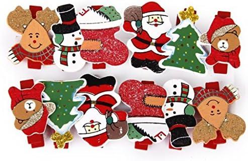 8,1m Cuerdas de C/á/ñame Clips Fotos Manualidades Navidad Celebraci/ón Papel Fotogr/áfico Artesan/ía MEJOSER 60pcs Mini Pinzas Peque/ñas de Madera Navidad