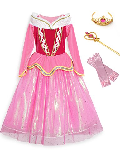 Little Girls Layered Princess Sleeping Beauty Aurora Costume Dress up with Crown, Wand and Gloves (5-6 Years, Pink) ()
