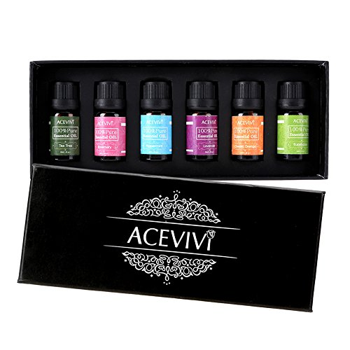 ACEVIVI 100% Pure Therapeutic Grade Basic Aromatherapy Sampler Essential Oil Gift Set- 6/10 ml (Lavender,...