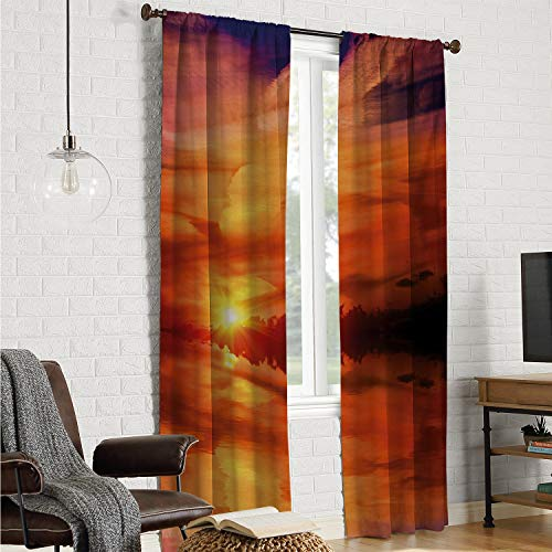 Room Divider Curtain Window Curtain 2 Panel Nature,Dramatic Sunset Sky Clouds on Lake Horizon Twilight Creamy Scene Artwork,Red Vermilion Marigold W84 x L84 Inch (The Amazing Spider Man 2 Final Scene)
