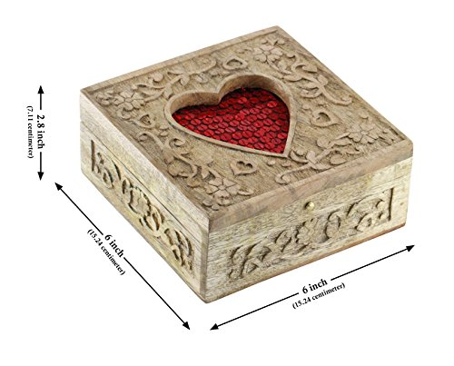 Mothers Day Gift - SouvNear PREMIUM QUALITY Red Heart Decorative Precious Jewelry Box - Wooden Carved Retro Handmade Ornate Keepsake Storage Chest - Rings / Necklace / Earring Box for Girls and Women