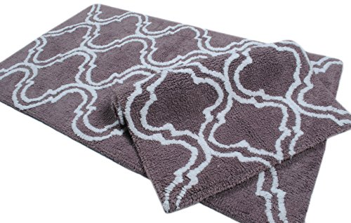 Plum Bath Rugs ( 2 Piece Bathmat Set ) Trellis collection (ANTI SKID LATEX BACKING) 100% Cotton Tufted Thick Bathmat Size 21 x 34/ 17 x 24 Inches Machine Washable Bathroom Rugs By Trendsetter Homez (Bath Towel Trellis)