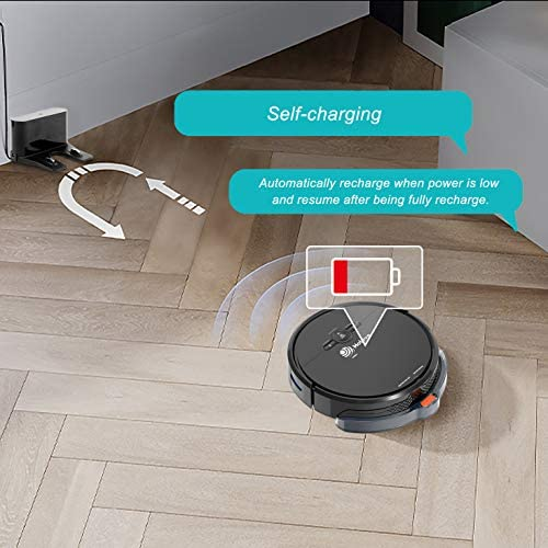Robot Vacuum Cleaner and Mopping Sweeper, Slim Holove D2 WiFi 1800PA Strong Suction with Automatic Self-Charging, Robotic Vacuum Cleaner for Pet Hair, Hard Floor and Low Pile Carpet