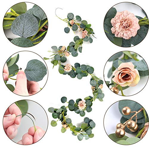 BigOtters 6Ft Artificial Flower Vine, Fake Silk Eucalyptus Garland Leaves Vine Artificial Berry Vine Hanging Vine Flowers Garland for Outdoor Wedding Backdrop Wall Decor Party Arch Garden Home Favor