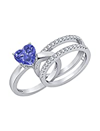 3.00 ct.tw Heart Shaped Created Tanzanite with White Sapphire 14K White Gold Plated Enhancer Wedding Ring Set