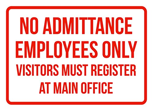No Admittance Employees Only Visitors Must Registers At Man Office No Parking Business Signs Red - 7.5x10.5 - Plastic from iCandy Products Inc