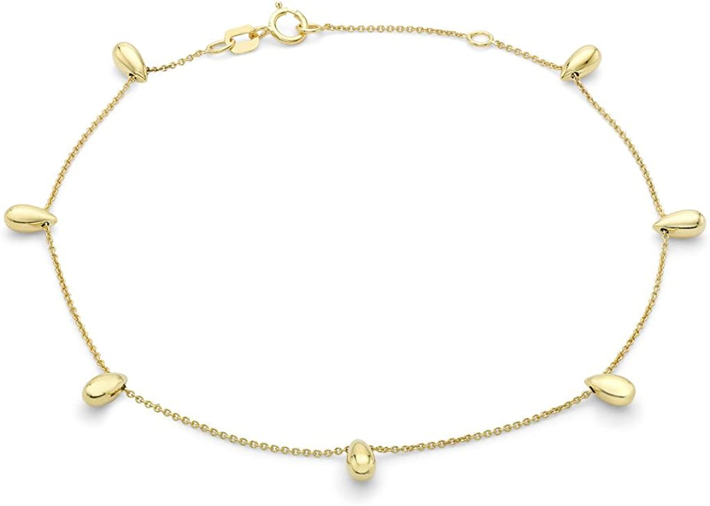Genuine 9ct Yellow Gold Teardrop Bead Adjustable Anklet 20cm//8-23cm//9 Brand New