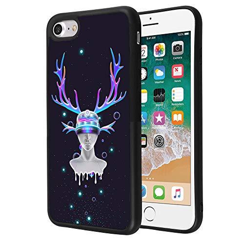 Beemars Customized Shiny Elk Portrait Case for iPhone 7 8, Black TPU Protective Anti-Slip Bumper iPhone 7 8 Phone Case (Portrait Elk)