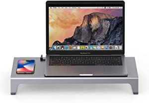Ergonomic Universal Laptop and Monitor Stand Riser and Dock with USB-C/USB 3.0 Ports and Wireless Charging Pad for Work from Home (WFH) Compatible with MacBook and Windows PC   Dock by Remote