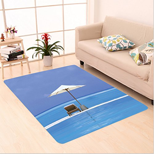 Nalahome Custom carpet e Decor Beach Chairs and Umbrella on A Island in the Middle of Ocean Seascape Picture Blue Beige area rugs for Living Dining Room Bedroom Hallway Office Carpet (22x60)