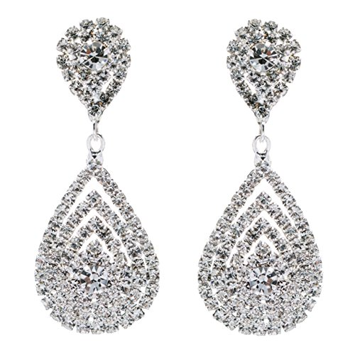 Formal Jewelry (ACCESSORIESFOREVER Bridal Wedding Jewelry Beautiful Dazzle Crystal Dangle Fashion 3D Earring Silver)