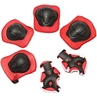 Elbow Wrist Protective Knee Pads Protective Gear Guard Adjustable for Kids Boy Children Skateboard Bicycle Ice Skate Roller Skating Cycling Mini Riding and Other Extreme Outdoor Sports (Set of 6 pcs.)