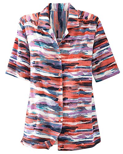 Printed Camp Shirt - Donnkenny Printed Camp Shirt, Water Color, 1X