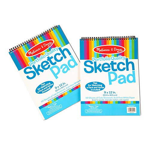 Melissa & Doug Sketch Pad, Arts & Crafts, Fade-Resistant, Acid-Free White Paper, 50 Sheets, 2-Pack, 9 W x 12 L, Great Gift for Girls and Boys - Best for 3, 4, 5 Year Olds and Up