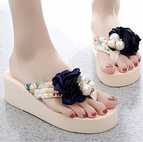 de zapatos b playa de alto frescas zapatillas FLYRCX verano PLAYA de AIRE resbaladizo tacón damas zapatos moda de Clip AL flores LIBRE dulce xBI8aIwq5