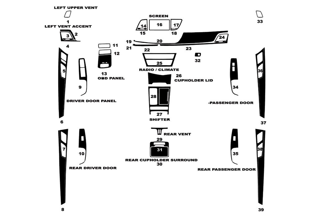 Carbon Fiber 4D Rdash Dash Kit Decal Trim for Land Rover Range Rover Evoque 2012-2016 Black