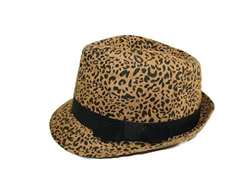 [Collection XIIX Eighteen Wild Leopard Print Fedora, Camel OS] (Leopard Cowboy Hat)