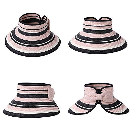 Straw Sun Visor Women Foldable Floppy Wide Brim Travel Hat Gardener Beach Hats Pink by Fancet (Image #4)