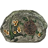 Cheap CC Outdoor Living LED Lighted Solar Powered Turtle and Flowers Outdoor Garden Stone, 7″