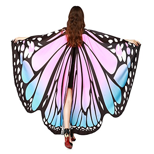 LERFEY Prop Soft Fabric Butterfly Wings Shawl Fairy Nymph Pixie Costume Accessory Blue Pink ()