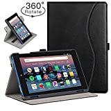 Ztotop Folio Case for Amazon flre HD 8 Tablet (8th/7th Generation,2018 and 2017 Release) - Smart 360 Degree Rotating Leather Cover Slim Folio Multi-Angle Viewing Stand Case with Auto Wake/Sleep, Black