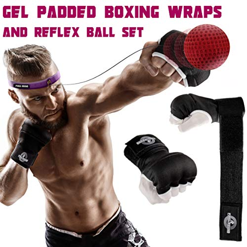 Final Round Gel Padded Inner Boxing Gloves with 2 Difficulty Level Reflex Ball Set, Fast Hand Wraps, Adjustable Headband, Improve Speed, Agility, Reaction, Hand Eye Coordination - Medium