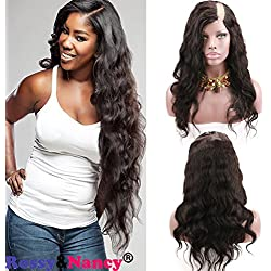 Rossy&Nancy U Part Human Hair Wigs Left Part Natural Black Color Body Wavy Style Lace Front Wig with Baby Hair 12inch