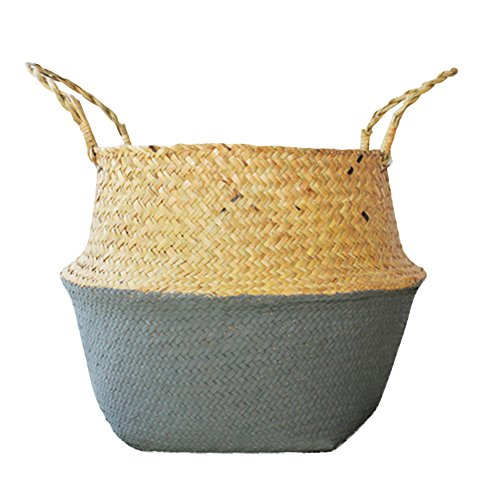 Hand-Woven Foldable Storage Basket Natural Seagrass Belly Panier Storage Plant Pot Collapsible Nursery Laundry Tote Bag with Handles