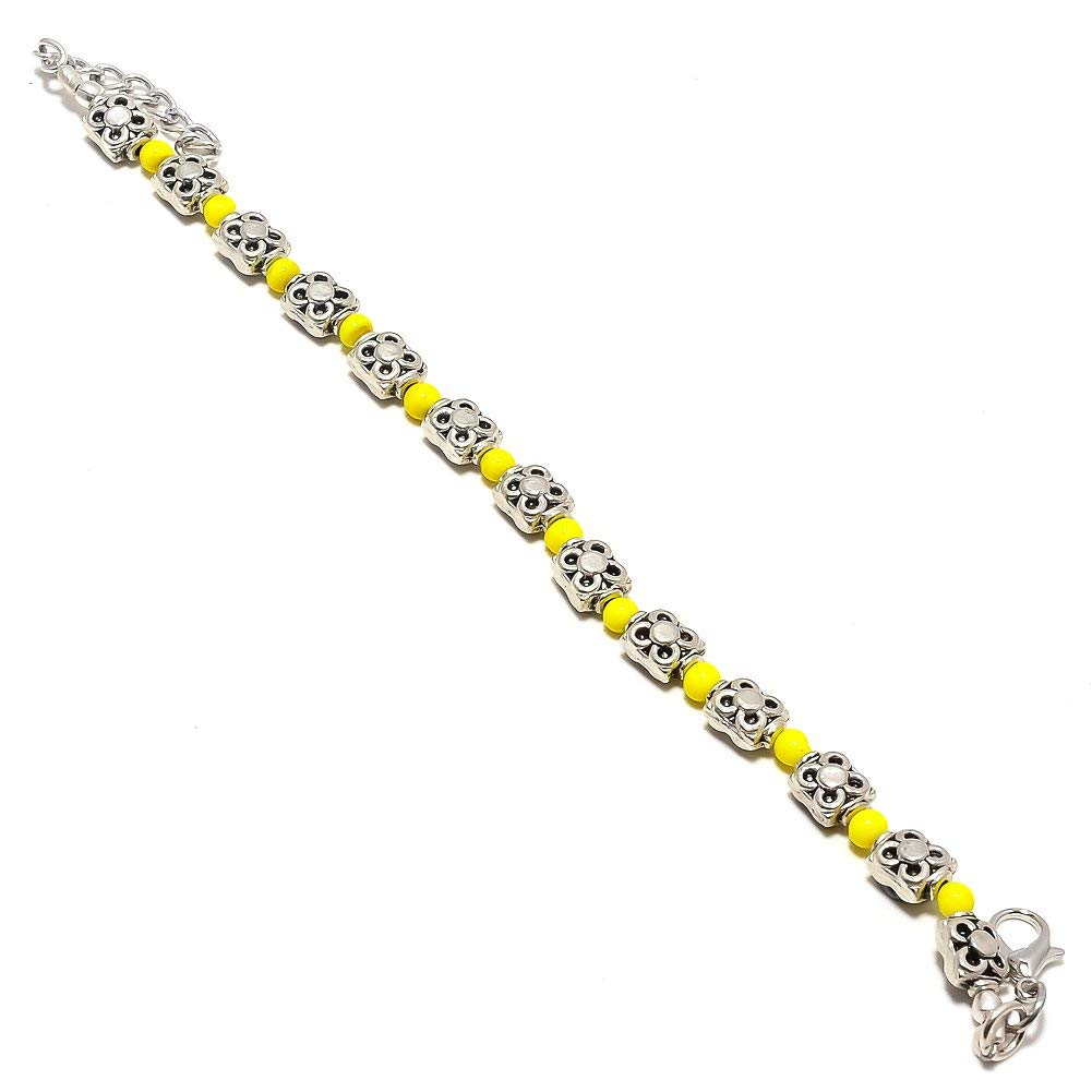 Yellow Plan Beads Silver Plated 14 Grams Beacelet 7-9 Long Ethnic Wear Handmade Jewellry