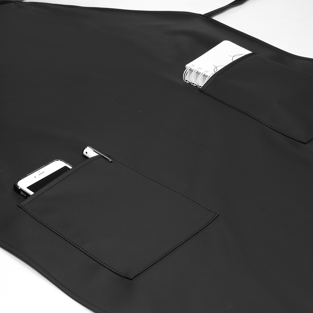 Adjustable Bib Waterproof Apron with 2 Pockets,Long Cooking Aprons for Men Women Chef, Black Commercial Restaurant and Home Kitchen Apron By VWELL by VWELL (Image #3)