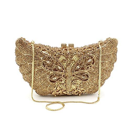Luxury Rhinestones Butterfly Bolsa de noche señoras bolso favorito Boda monedero del embrague bastidor metálico golden