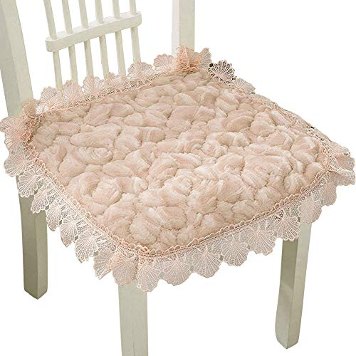 - Ibnotuiy Plush Square Thickening Chair Cushion Lace Floral Non-Slip Winter Seat Pad with Ties for Home Garden Patio (2Pcs, Apricot)