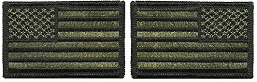 Tactical USA Flag Patch and Reverse USA Flag Patch - Olive D